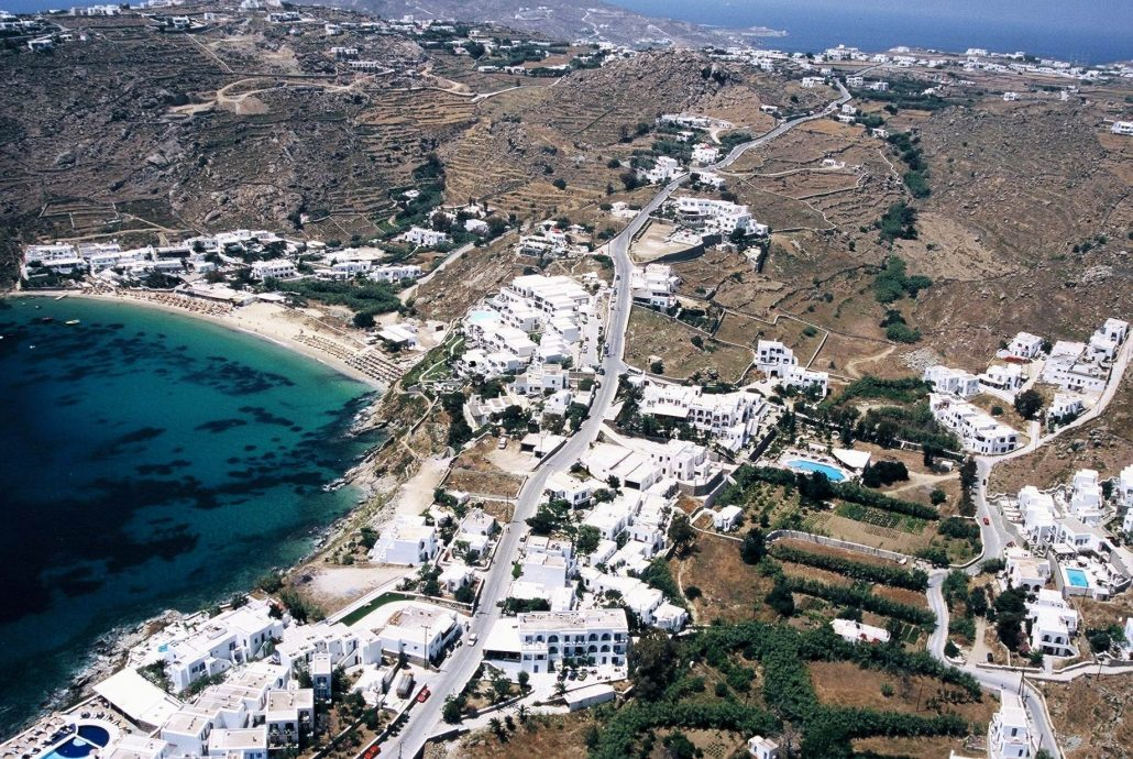 Psarou-and-Platis-yialos-beaches-mykonos-island- mykonos_south_coast_daily_cruise_Eversails_yachting_Greece
