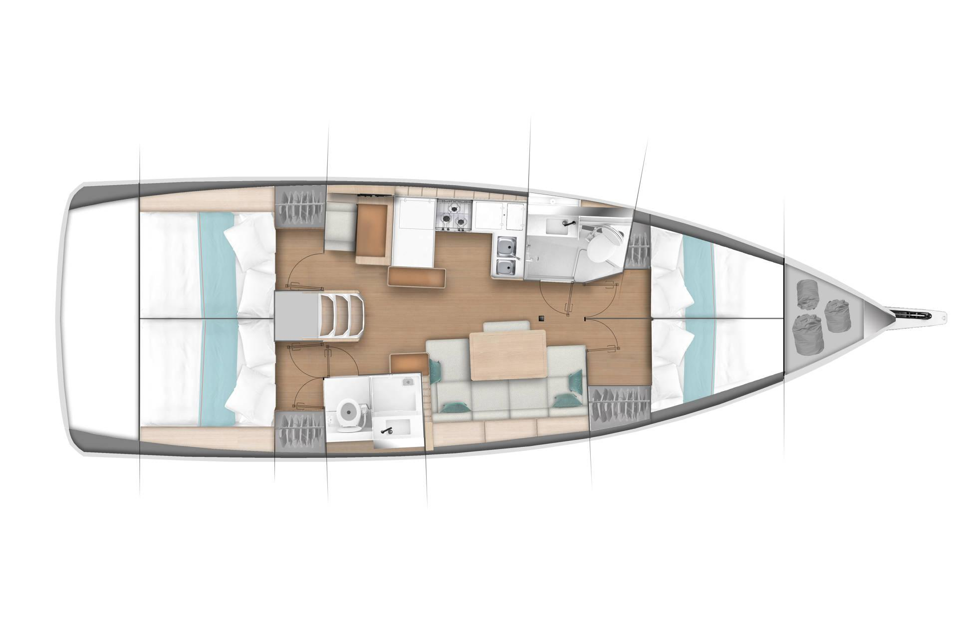 Sun Odyssey 440 - Bareboat charteting in Paros - Plan (1)
